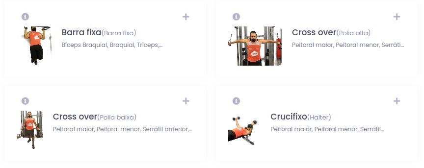 Seleção de exercícios na plataforma Eksy