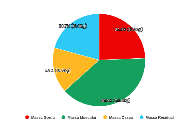 Gráfico de composição corporal da plataforma Eksy